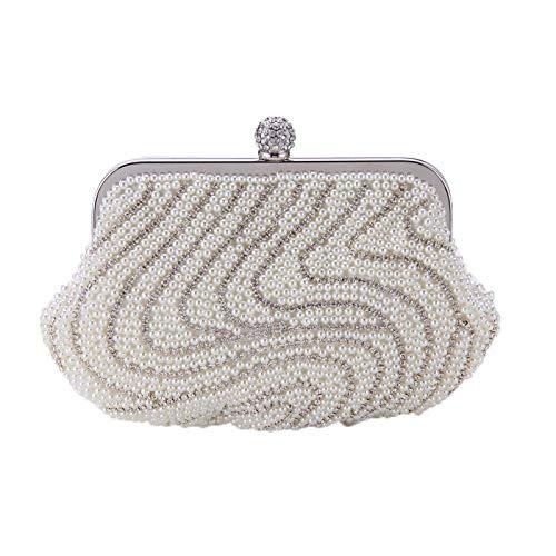KFRSQ Clutch Tassen voor Vrouwen Handtassen Dames Tas Handtas Koppelingen Europa en de Verenigde Staten Explosies Parel Diamant Avond Bruid Bruiloft Hand Ketting Ring Gesp Lady