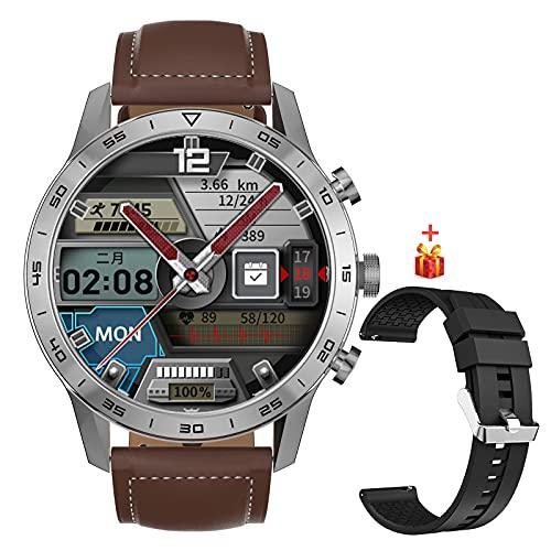 Smartwatch Reloj Inteligente Hombre, Fitness Tracker con Telefonía bluetooth Monitor de Nivel SpO2 Monitorización de Frecuencia Cardíaca Sueño, Impermeable IP68 Pulsera Actividad Android iOS,Marrón