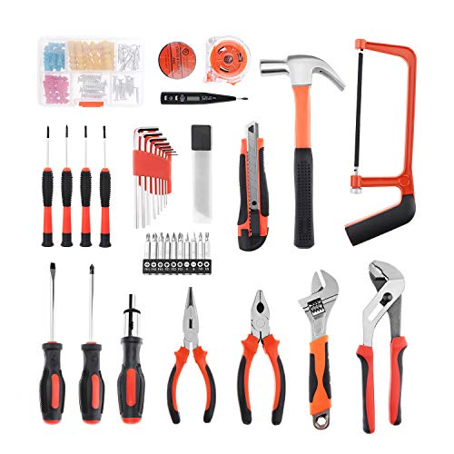 Miulika 100 Piece Tool Set General Household Hand Tool Kit Home Repair Mechanics Tools Screwdriver Hammer Wrench Plier Saw with Toolbox Storage Case