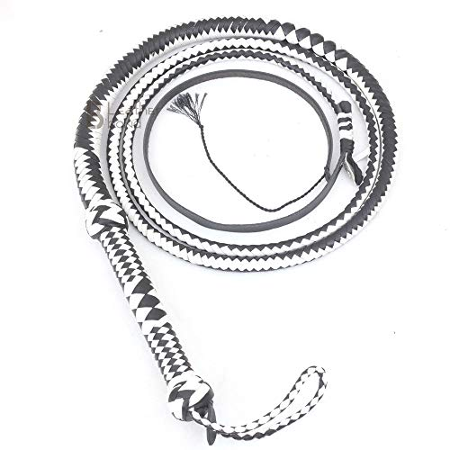 Genuine & Real Cow Hide Leather Bullwhip 12 Plait 10 Foot Bull Whip Black & White