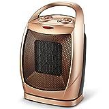 Pequeño Calefactor 750W/1500W Ventilador Calentador con 3 Funciones Ajustables para el Hogar, Oficina, Dormitorio, Garaje, Cuarto de Baño,Oro