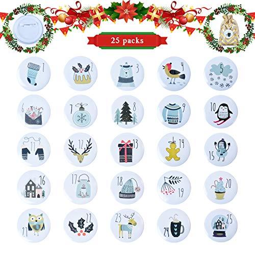 EKKONG Adventskalender Zahlen Buttons Nummer 1-25 mit Pins, für DIY Weihnachtskalender, Jutesäcke und Geschenkdekorationen (B)