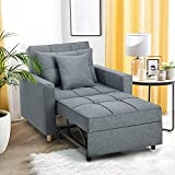 YODOLLA 3-in-1 Sofa Bed Chair, Convertible Sleeper Chair Bed,Adjust Backrest Into a Sofa,Lounger Chair,Single Bed,Modern Chair Bed Sleeper for Adults,Dark Gray
