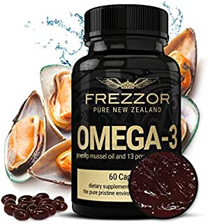 """New Zealand Green Lipped Mussel Oil Capsules, Joint Pain Relief Omega-3 Supplement, Essential Fatty Acids Supplement for Immune System Inflammation, FREZZOR Omega-3 Black, """"No Fish Burps"""", 120mg GLMO"""