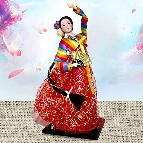 Asiático Estilo Coreano Muñeca Kimono Geisha Geisha Asiática Collectable Figurine Decoración de hoteles Suministros de Hotel Regalos para niños Navidad Cumpleaños Presente Oriental Coleccionable,Rojo