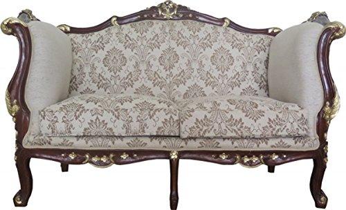 Barock 2-er Sofa Creme/Braun/Gold Mod2 - Möbel Antik Stil - Limited Edition