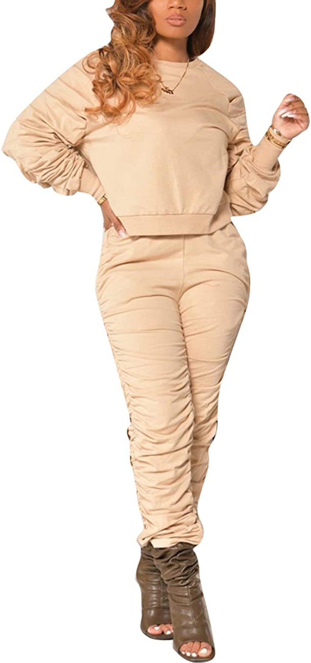Tracksuit Puff Sleeve Sweatshirt and Skinny Long Pants Set Jogging Suits KANSOON Women 2 Piece Outfits