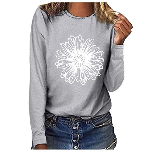 Women's Tops Chic Daisy Graphic Print T-Shirt Casual Long Sleeve O-Neck Flower Pattern Pullover Holiday Club Party Personalised Tee Shirts Blouse Floral Top for Teen Girls Gray
