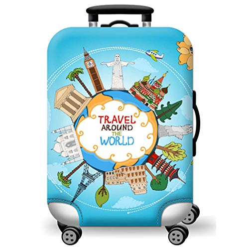 WUJIAONIAO Travel Luggage Cover Spandex Suitcase Protector Washable Baggage Covers (M (for 22-24 inch Luggage), Ocean)