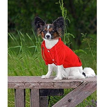 Eastlion Sweat à Capuche pour Chien Chat Chaud Manteau d'hiver pour Chiens Doux Pull Vêtements en Coton pour Animaux Petit Moyenne Chien Chiot Chihuahua Poodle Teddy (Rouge,XS)