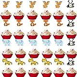 Mikqky 5 piezas Decoraciones De Tortas De Animales, Pastel De Animales Del Bosque, Utilizado para suministros de fiesta de cumpleaños de baby shower