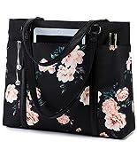Laptop Tote Bag Womens Work Bags Purse Floral Teacher Handbag Shoulder Bag fit 15.6 in Laptop (Black - Peony Floral) …