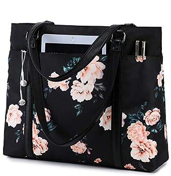 Laptop Tote Bag Womens Work Bags Purse Floral Teacher Handbag Shoulder Bag fit 15.6 in Laptop  Black - Peony Floral