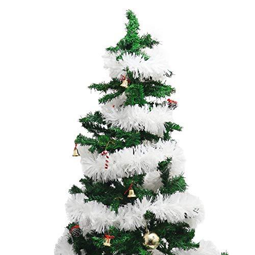 BELLE VOUS Oropel (3 Piezas) 3 Metros Cada Una Adorno Navideño Guirnalda Oropel Blanco Árbol de Navidad - Espumillón Decoraciones de Navidad para Paredes, Ventanas, Escaleras, Pasamanos, Fiestas