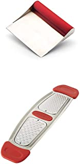 Rachael Ray Tools & Gadgets Stainless Steel Bench Scrape, Red with Rachael Ray Stainless Steel Multi-Grater with Silicone Handles, Red