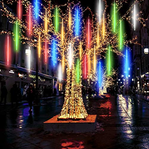 Holiday Lighting 30cm 10 Tube Solar Meteor Lights Waterproof LED String Lights Meteor Shower Lights For Holiday Wedding Christmas Tree Decoration Lighting Strings ( Emitting Color : Multicolour )