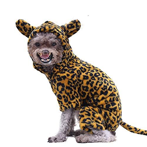 Jimmar Disfraz de Mascota León Cebra Leopardo Disfraz para Perros Ropa Halloween Cosplay Vestido Fiesta Vestir Perros Gatos Animal Fleece Sudadera con Capucha Trajes Calientes Ropa