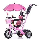 XHSLC Tricycle pour bébé Trikes - Rose avec poignée de poussée et auvent Pare-Soleil, Poussette légère avec bac de Rangement pour Le Voyage, de 1 à 6 Ans