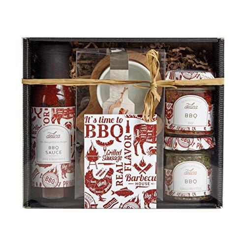 LAUX BBQ Geschenkset mit BBQ Grillbutter Gewürzmischung, BBQ Dip Gewürzmischung, BBQ Sauce, 2er Dipschalen Set in Edler Geschenkbox