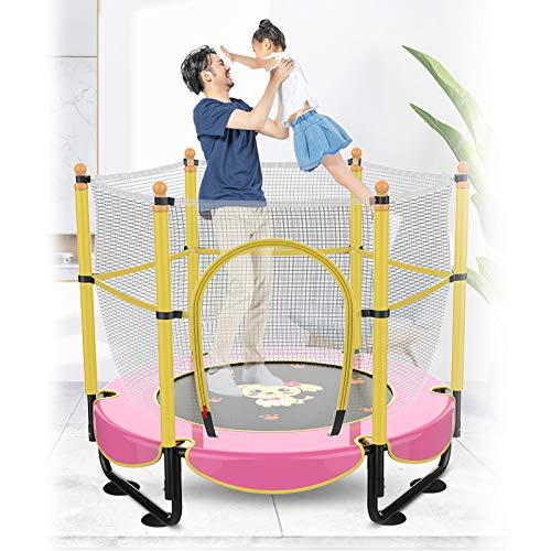 1,5m Fitness en Casa Cama de Salto para NiñOs,PequeñA TrampolíN Interior,Cama de Resortes Redonda con Ventosa/Silencioso,para Gimnasia BebéS,with Patterned Jumping Mat