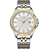 Olika Diamond Watches for Men, 42mm Oversized with 43 Flash Diamonds Male Dial, Luxury Business Waterproof Luminous High Hardness Mineral Surface Calendar Simple Fashion Stainless-Steel Strap Watch