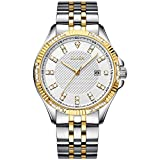 Olika Diamond Watches, 3 ATM Waterproof Luminous Watch, Easy Read Calendar Dress Watch, Father's Day Valentine's Day Christmas Gifts for Man - Over-Sized Male Dial 42 mm Stainless-Steel Strap