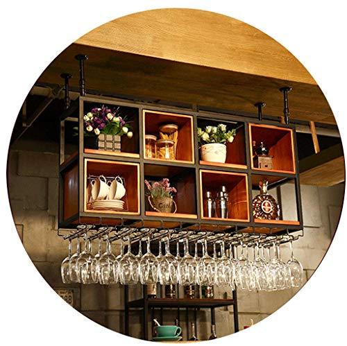 AERVEAL Hanging Metal Iron Wine Glass Rack Wooden Floating Shees Adjustable Height Goblet Stemware Racks Holder to Hang Cocktail or Champagne Flutes for Kitchen, Bar, Pubs or Restaurants Rack