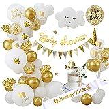Baby Shower Decoration Fille GarçOn, Ballon Baby Shower Mixte Or et Blanc avec Mummy to be Echarpe, Banderole Baby Shower Oh Baby Cake Topper pour Future Maman, fête de révélation de Genre