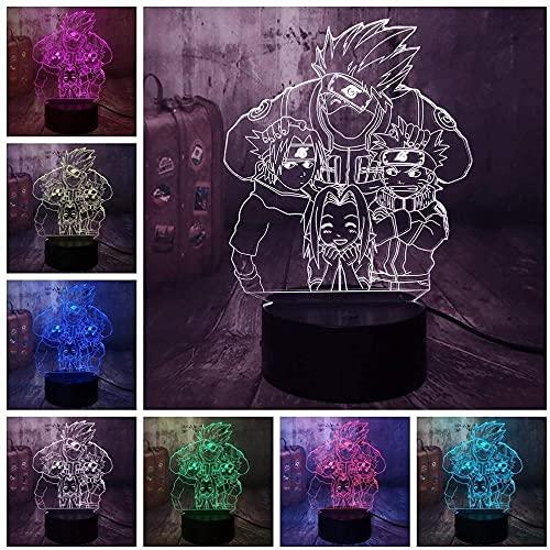 NUFR anime 3D ilusión óptica noche píldora LED lámpara de mesa LED lámpara de mesa niños dormitorio escritorio decoración niño Año Nuevo aniversario regalo Pascua