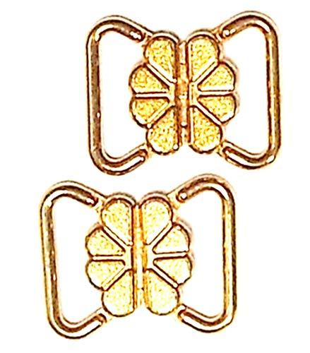 Großhandel für Schneiderbedarf 2 Bikiniverschlüsse Metall Gold Steg 12 mm