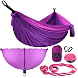 Gold Armour Camping Hammock with Bug Net - Double Parachute Hammock (2 Tree Straps 32 Loops,20 ft Included) USA Brand Lightweight Nylon Adults Kids, Camping Accessories Gear (Purple with Bug Net)
