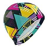Tcerlcir Gorro Natación Estampado geométrico de triángulo Colorido Gorro de Piscina para Hombre y Mujer Hecho de Silicona Ideal para Pelo Largo y Corto