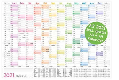 Wandkalender 2021 A2 [Rainbow], 59 x 42 cm für 14 Monate Dez 2020 - Jan 2022 | Wandplaner mit Ferien- und Feiertage-Übersicht, FSC®-Papier, gefalzt + extra A3 & A4 Kalender!
