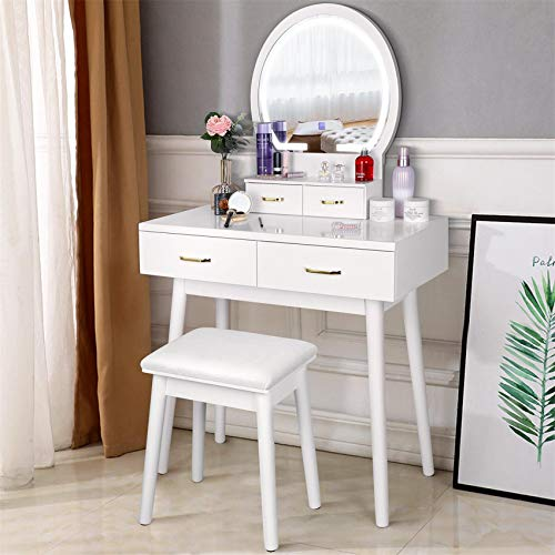Teamson Kids Pretend Play Kids Vanity Table and Chair Vanity Set with LED Mirror Makeup Dressing Table with Drawer Fashion Polka Dot Prints Gisele Play Vanity Set White//Gold