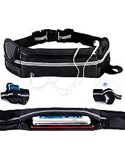 KEAFOLS Sportheuptas, buiktas, hardloopriem, waterdicht, met hoofdtelefoonaansluiting en reflecterende strepen, sporttas voor smartphone