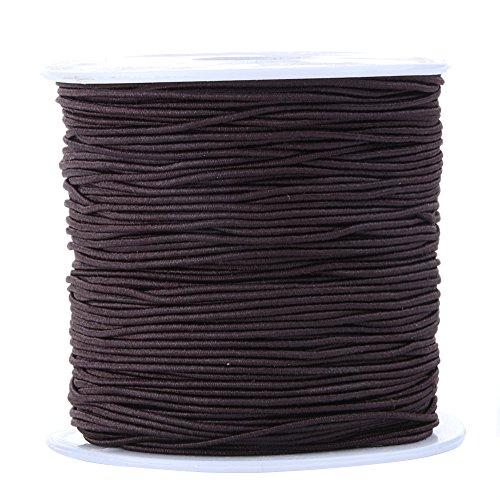 Bingcute 1.0MM Dark Brown Elastic Cord for Making Jewelry, 100 Yard