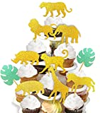40-pack Glitter Safari Jungle Animal Cupcake Toppers with Leaves, Safari Jungle Theme Baby Shower Party Cake Food Decoration Supplies