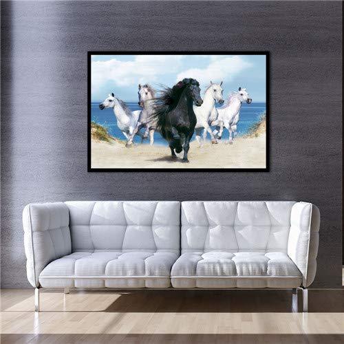 (Geen frame) 60x80CM XX3509 Nordic Mooie Dieren Beer hond Rijden Fiets Canvas Schilderijen Poster Print Wall Art Pictures Voor Kinderkamer Home Decor