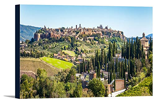 Orvieto, Italy - View of the City in the Province of Terni in Umbria with Many Cypress Trees 9023766 (18x7 Gallery Wrapped Stretched Canvas)