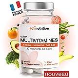 ULTRA Multivitamines | 29 Nutriments Bio-actifs dont Vitamines C & D + Probiotiques Ultra-assimilables | 90 gélules | Pour Vitalité, Immunité et Stress | Fabriqué en France par Actinutrition