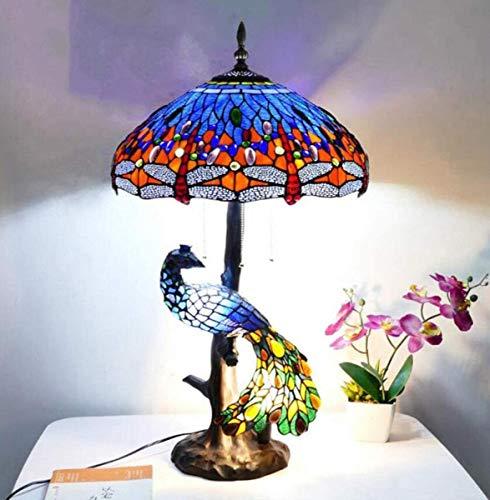 KLDDE Lámpara de Mesa Estilo Tiffany Vintage Hecho a Mano Lámpara de Escritorio de vidrieras Retro Europeo con Base de Pavo Real para Sala de Estar Barra de café, 5 Luces (Color : Blue)