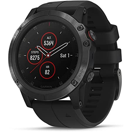 Garmin fenix 5X Plus, Ultimate Multisport GPS Smartwatch, Features Color Topo Maps and Pulse Ox, Heart Rate Monitoring, Music and Contactless Payment, Black with Black Band