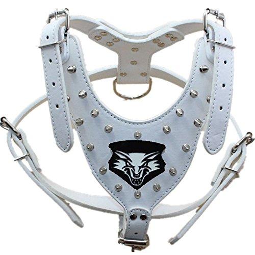 haoyueer Arnés de piel con tachuelas de lobo para perro mediano y grande, mastín, bóxer, Bull Terrier (blanco)