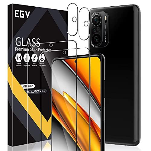 EGV 4 Stück Schutzfolie Kompatible mit Xiaomi POCO F3, 2 Folie und 2 Kamera Schutzfolie, 9H Härte, HD Klar Displayschutzfolie, Schwarz/Transparent