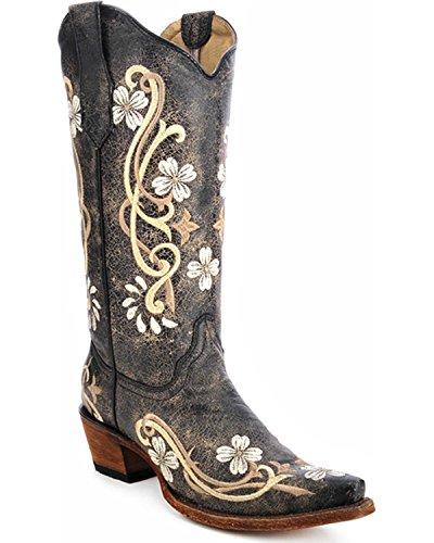 Corral Damen Circle G L5175 Mehrfarbige bestickte Cowgirl-Stiefel, Leder, Schwarz, Größe 40
