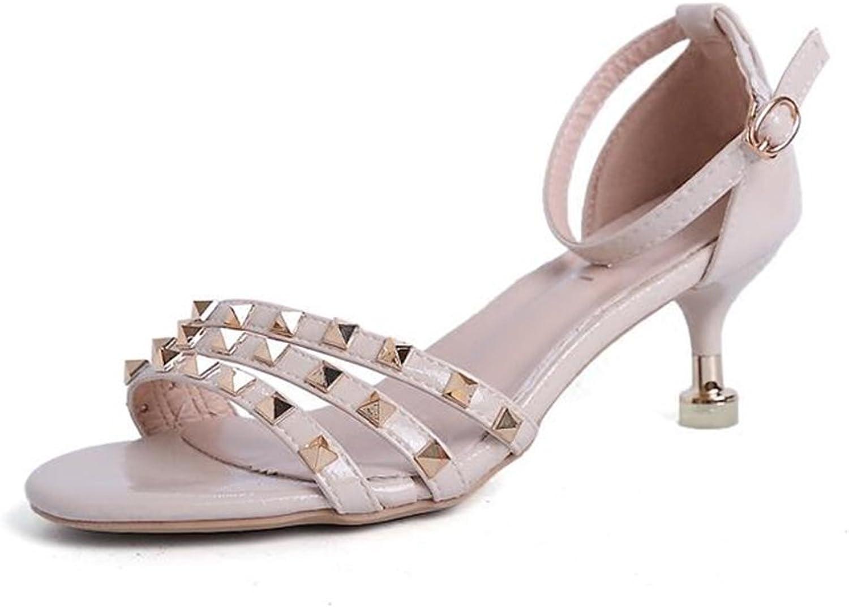 CJC High-Heeled Sandals Open Toe High Heels Thin High Heels Sexy Fashion Elegant Sandals Get Together Student Refreshing (color   Beige, Size   EU36 UK3.5)