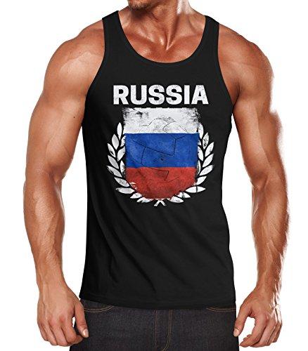 MoonWorks MoonWorks EM WM Tanktop Fanshirt Herren Fußball Russland Flagge Russia Vintage Muskelshirt schwarz S