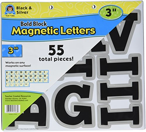 """Teacher Created Resources Black & Silver 3"""" Magnetic Letters (TCR77266)"""
