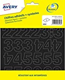 AVERY - Sachet de 201 chiffres autocollants noirs (+ symboles), Taille 12,5 mm