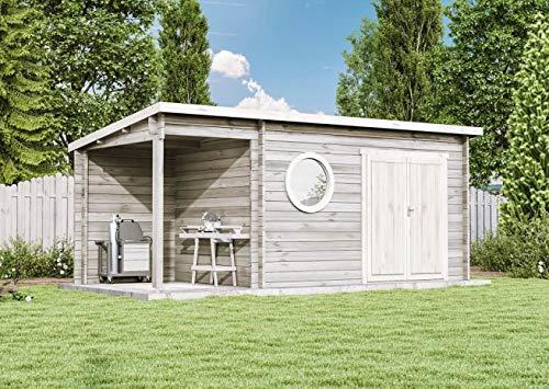 CARLSSON Alpholz Gartenhaus Maria-Rondo aus Massiv-Holz | Gerätehaus mit 44 mm Wandstärke | Garten Holzhaus inklusive Montagematerial | Geräteschuppen Größe: 550 x 250 cm | Pultdach